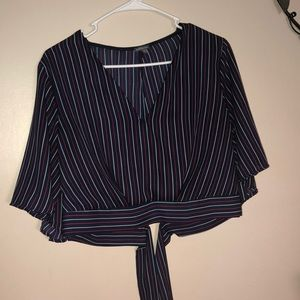 Blue red and white striped crop top with tied back